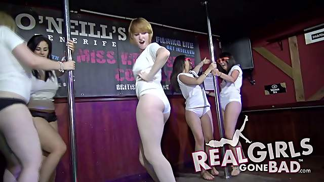 Amateur party girls get up and work the pole for the crowd