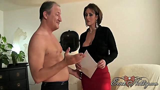 Eva Notty grabbed and started pleasuring a throbbing schlong