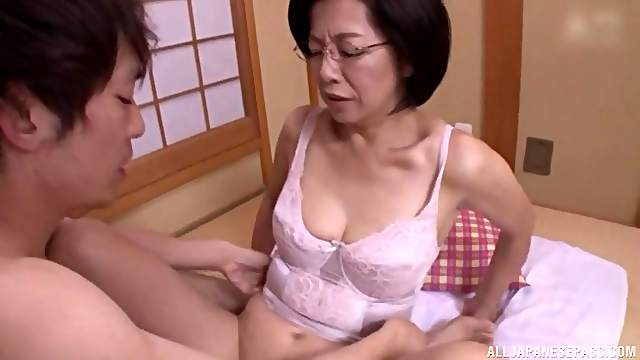 Busty Japanese MILF with glasses pounded doggy and missionary