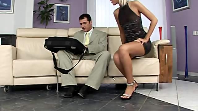 Dude Cums On Blonde's Feet
