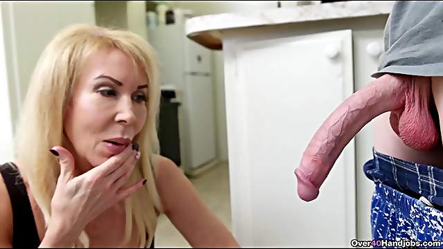 Horny mature is surprised by the size of his massive penis