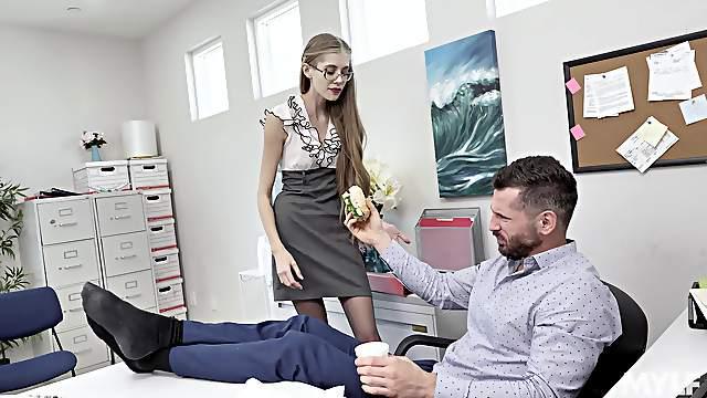 Skinny secretary Kyaa Chimera blows and gets fucked in the office