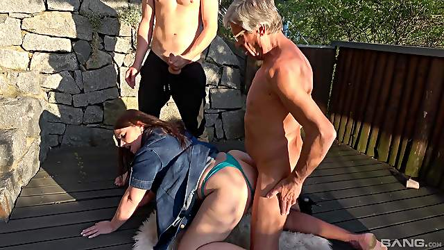 Couple of guys team up to fuck dirty sluts Iveta and Aneta