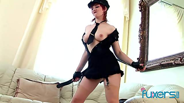 Police officer babe masturbating and toying her ass