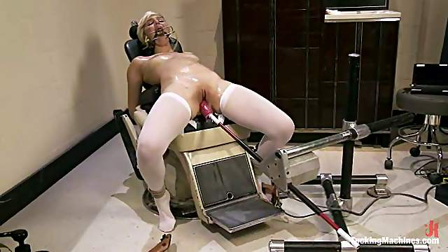 Tied up Chloe Camilla gets toyed in both holes by a machine