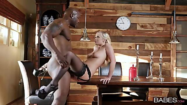 Pure blonde beauty in black stockings takes BBC