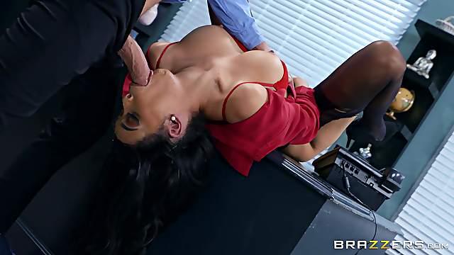 Office secretary gets naughty with the boss and fucks hard
