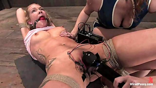 Blonde Sabrina Fox gets her pussy wired and toyed in BDSM video