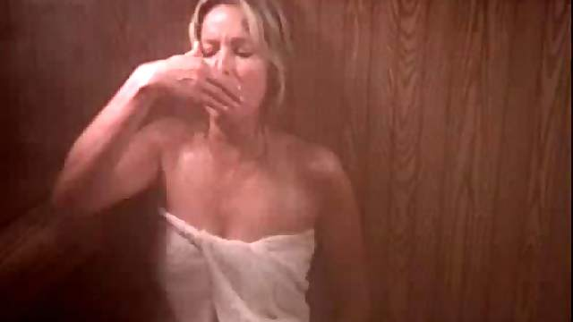 Sensual Retro Blonde Bo Derek Wearing Just a Towel In a Steamy Sauna