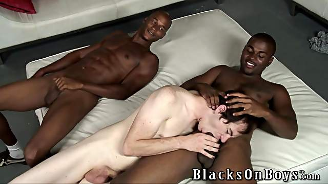 Alex gets his ivory gay bumhole destroyed by two black studs