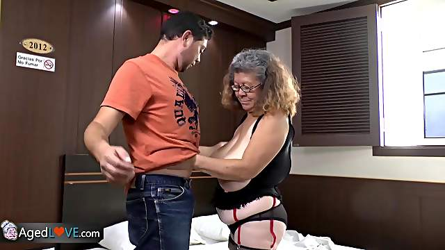 Old and busty mature latina grannies are fucking with handy man