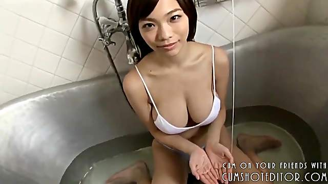 Busty Young Japanese Teen Taking A Bath