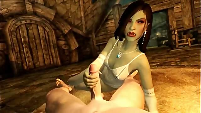 Wonderful cartoon fantasy with a busty female Orc with a student. Intense wild sex.