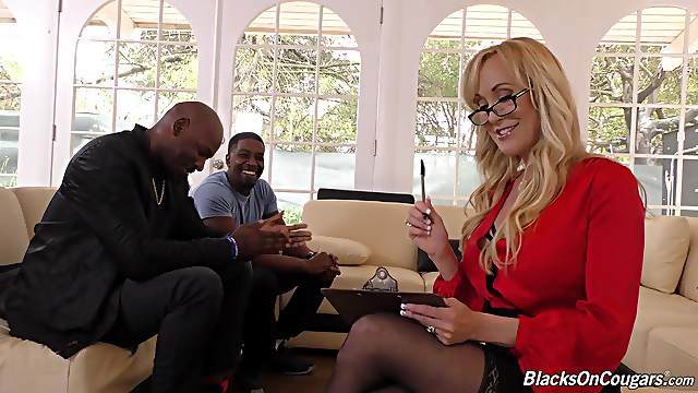 Busty Brandi Love gets her cunt fucked by two black guys