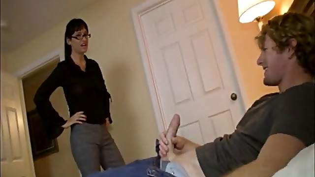 Brunette slut with glasses jerking off and sucking a dick of her man