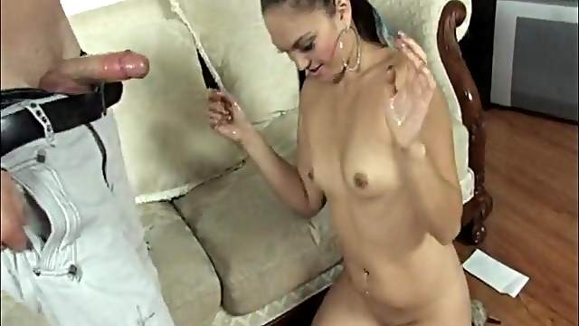 Small tits Asian chick Leihlani Love strokes a dick and gets cumshot