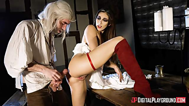 Desirable brunette Clea Gaultier in red boots fucked by a big dick