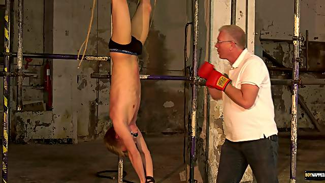 Gay man gets tied up upside-down and tortured by a mature perv