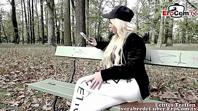 German blonde fitness model pick up shy guy for anal