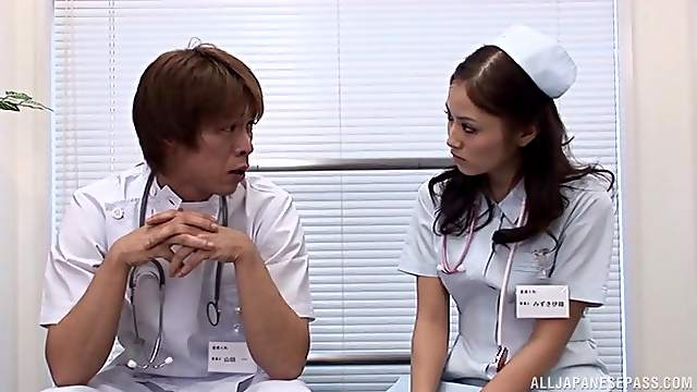 Japanese nurse gets fingered and fucked by a horny doctor