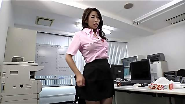 Tearing up a hole in the pantyhose of his Japanese secretary to fuck her
