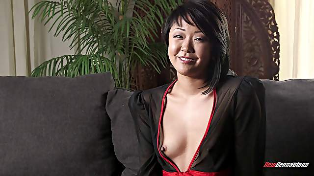 Cute Asian porn girls chat before they get naked and bang