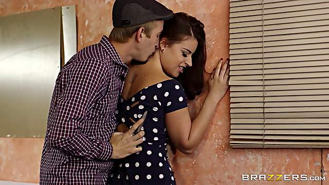 Short polka dot dress on a beauty fucking his huge cock