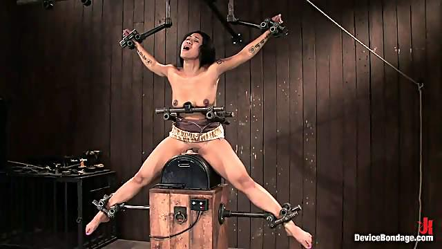Sybian Ride for Asian Slut DragonLily in BDSM Video