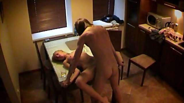Spy Cam On Horny Amateur Couple Fucking in The Kitchen