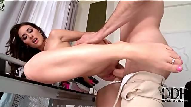 Stockings footjob and doggystyle sex in panties