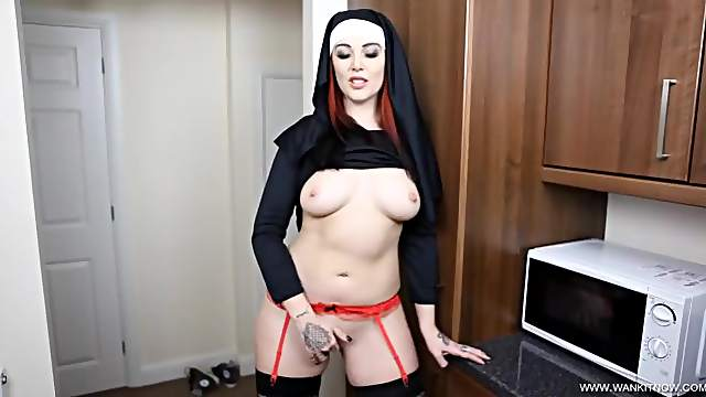 Dirty talking nun offers hot JOI to make you cum