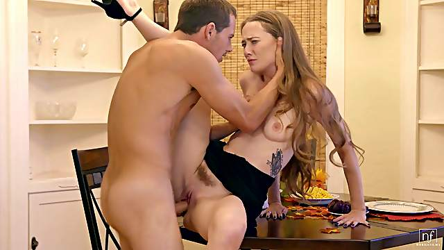 Tall beauty with lovely long hair gets fucked hardcore