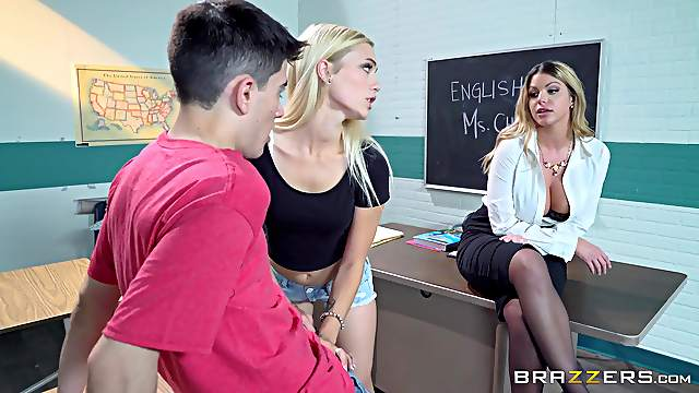 Erotic classroom display with a young couple and their hot female teacher