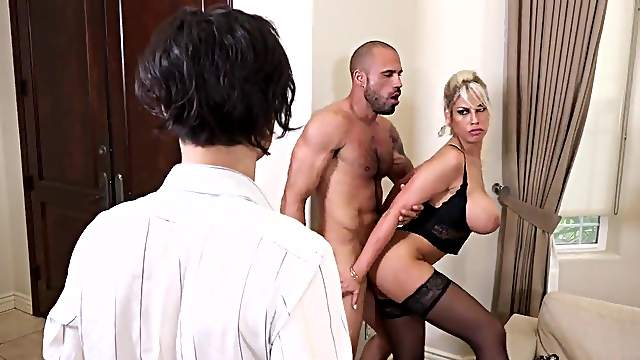 Wife fucked hard in front of hubby and jizzed on tits