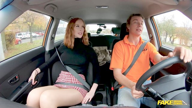 First driving lesson and the redhead is already fucking with the instructor
