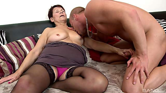 Granny takes the young hammer up her tight holes and throat