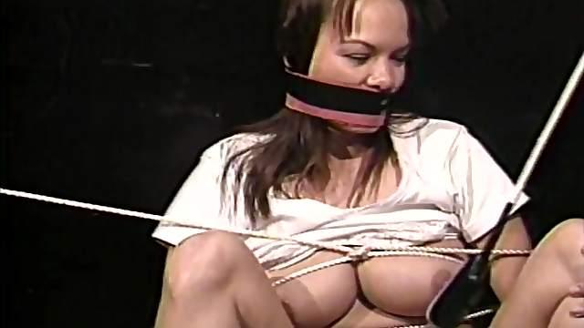 Tied and gagged lesbian slut
