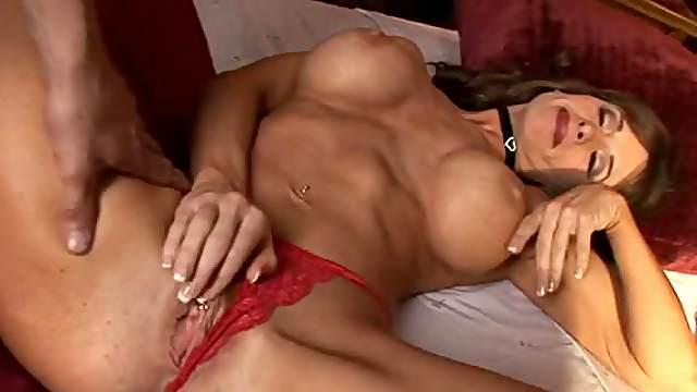 Sexy Brunette MILF Rubs Her Swollen Clit
