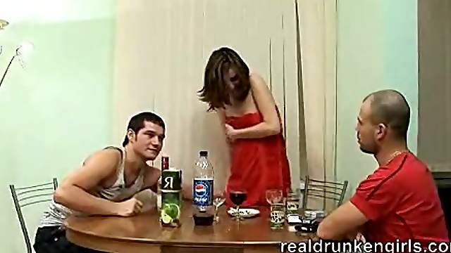 Drunken Slut is Abused by Two Horny Men
