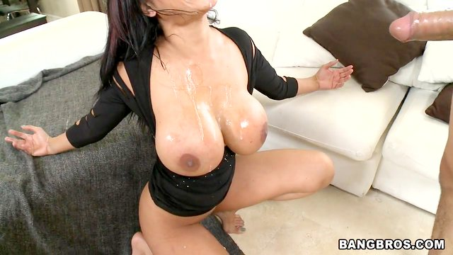 Horny cock sucker gets her big tits drenched in cum