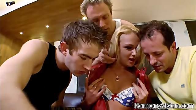 Gangbang sex for the busty blonde Ivana Sugar