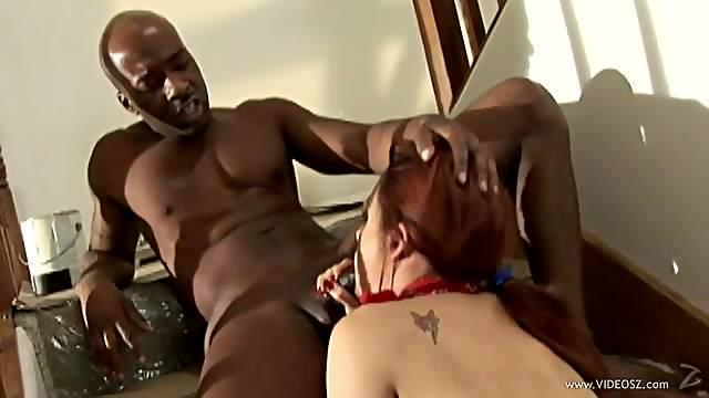Interracial sex for the sexy redhead Victoria Sweet