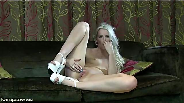 Naked masturbating mom in sexy white heels