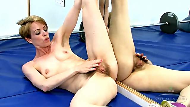 Naked workout with a fit milf and her hairy pussy