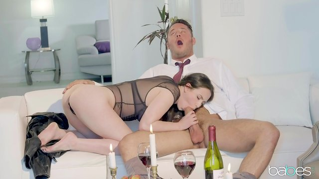 Naughty action with the slim babe after only a glass of wine