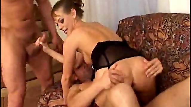 Beautiful Euro women in erotic foursome