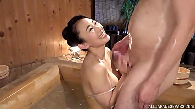 Japanese wife sucks it so good that the man cums in minutes