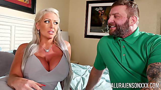 Busty cougar gets intimate with her submissive male slave
