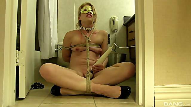 Ruthless hard oral solo in BDSM bondage