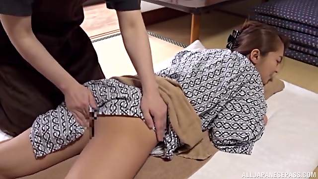 Traditional Japanese porn with a hot woman in a sexy kimono